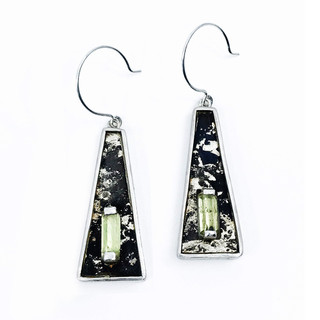 Apex Earrings from Viva Smith   Steel fused with fine gold and silver   Apatite