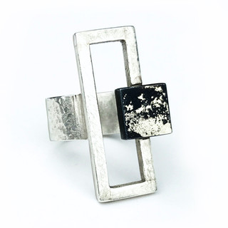 Geometric Ring from Vivasmith | Steel fused with Fine Gold and Fine Silver