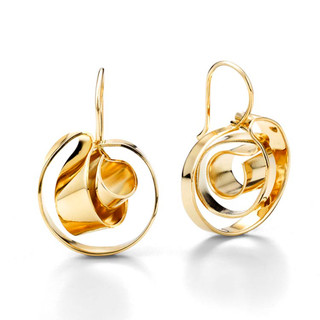 Gold Plated Mobious Earrings | Modern Art Jewelry by Mia Hebib