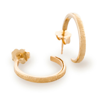 Eclipse Hoop Earrings, Textured 14K Yellow Gold by Anit Dodhia