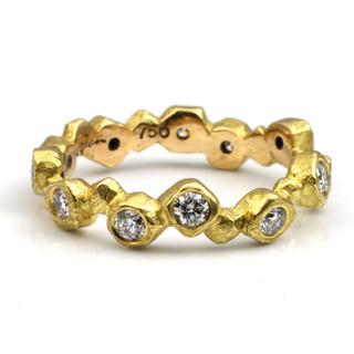 Gold Nugget Diamond Band by Liaung-Chung Yen | 18 Karat yellow gold and diamonds