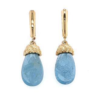 Gold Sea Grass Aquamarine Drop Earrings Handmade by Modern Jewelry Artist Alexis Barbeau