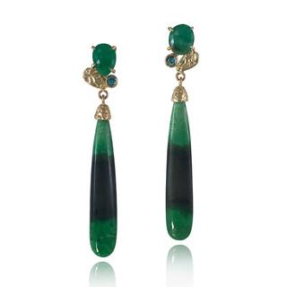 Green Garnet Color Block Earrings, 14K Gold and Emerald by Keiko Mita