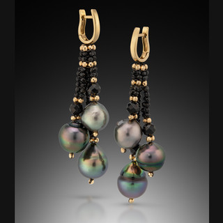 Tahitian Pearl Earrings -14K Yellow Gold and Black Spinel by Beth Faber