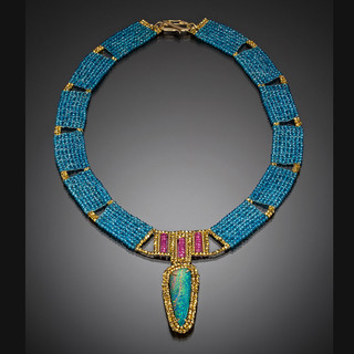Opal and Blue Topaz Collar - Hand-Woven 18K Yellow Gold, Blue Topaz and Pink Sapphire by Beth Faber