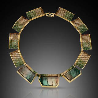 Multi-Color Tourmaline Collar Necklace - Hand-Woven 18K Gold and Tourmaline by Beth Faber
