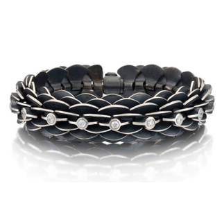 Oxidized Silver Pangolin Bracelet by Samantha Freeman | Oxidized Sterling Silver and Cubic Zirconia