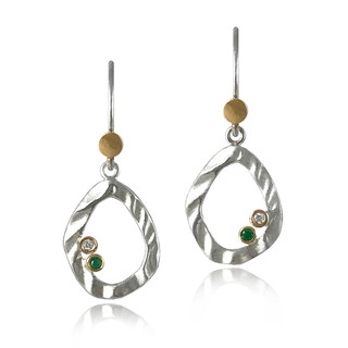 Petite Pebble Drop Earrings by Keiko Mita | Sterling Silver with Gold and Stone Accents | Handmade Modern Jewelry