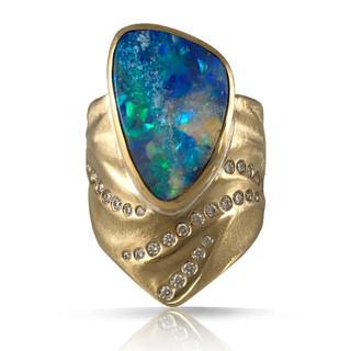 Blue Sea Opal Ring by Keiko Mita   Boulder Opal, diamonds, 18K Gold   Handmade Fine Jewelry