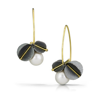 Vein Line Pearl Blossom Earrings by Christine Mackellar | 18 Karat Gold and Oxidized Sterling Silver | Freshwater Pearls