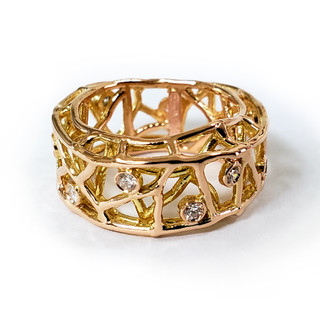 Garden of Eden Ring, 18 Karat Yellow Gold, Art Jewelry by Oleg Zaydman