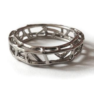 Garden of Eden Men's Ring, 18 Karat White Gold, Art Jewelry by Oleg Zaydman