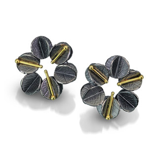 Urban Daisy Small Studs, Oxidized Sterling Silver and Gold by Christine Mackellar