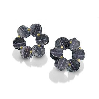 Urban Daisy Medium Earrings, Textured Oxidized Sterling Silver and Gold by Christine Mackellar