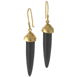 Susan Crow's contemporary Black Jet and Gold Drop Earrings   Black Jet gemstones and recycled 14 Karat yellow gold