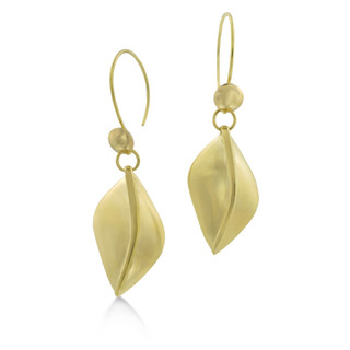 Susan Crow's Floral Leaf Drop Fairmined Gold Earrings   Fairmined 18 Karat Yellow Gold
