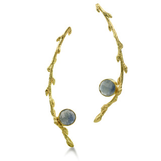Susan Crow's Sapphire and Fairmined Gold Branch Earrings   Malaw Sapphires and 18 Karat Fairmined Yellow Gold