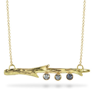 Susan Crow's Montana Sapphire and Fairmined Gold Branch Pendant   18 Karat Fairmined Yellow Gold