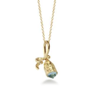 Susan Crow's Aquamarine and Fairmined Gold Tiny Pod Pendant   18 Karat Fairmined Yellow Gold