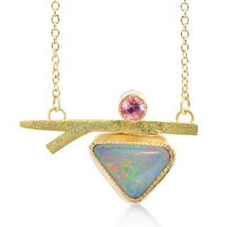 Susan Crow's modern Sapphire, Opal and Gold Branch Pendant   14 Karat and 18 Karat Recycled Gold   Montana Sapphire and Australian Opal