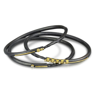 Circle Line Bracelets, leaf textured oxidized sterling silver with gold and diamond accents by Christine Christine Mackellar