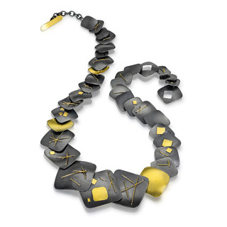 Black Square All Around Necklace, Oxidized Silver and Gold, Handmade Contemporary Jewelry by Suzanne Schwartz