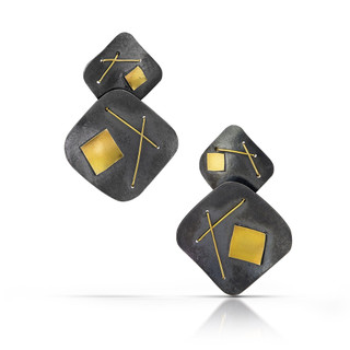 Black Interwoven Square Drop Earrings, Oxidized Silver and Gold, Handmade Contemporary Jewelry by Suzanne Schwartz