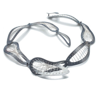 Black Interwoven Sew Weave Necklace, Oxidized Silver and Silver, Handmade Contemporary Jewelry by Suzanne Schwartz