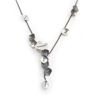 Small Square Cluster Necklace, Oxidized Silver and Silver, Handmade Contemporary Jewelry by Suzanne Schwartz