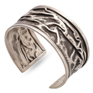 One-of-a-Kind Crumbled Cuff from Morgan Amirani   Hand Forged Sterling Silver