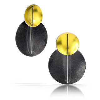 Double Circle Earrings | 22 Karat Gold Bimetal and Oxidized Argentium Silver with Fine Silver Wire | Contemporary Jewelry Suzanne Schwartz