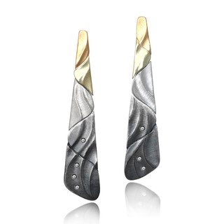Ombre Earrings with Diamond Accents | Gold and Silver | Art Jewelry by Keiko Mita