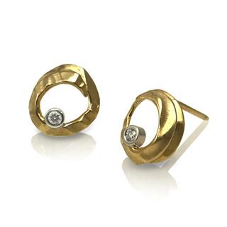 Open Pebble Studs   14K gold and Diamonds  Handmade Fine Jewelry by Keiko Mita