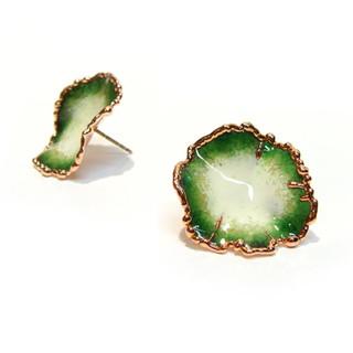 Flora Studs | Peacock Green Glass Enamel | Art Jewelry by Cheryl Eve Acosta