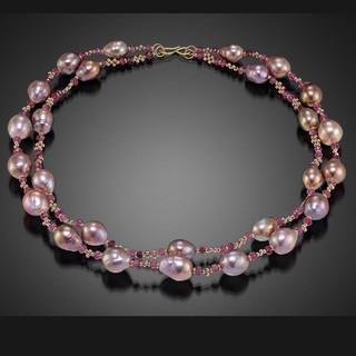 Hand-Woven Modern Art Jewelry from Beth Farber | Pink Tourmaline and 14 Karat Gold Beads | 18 Karat Gold S-Clasp