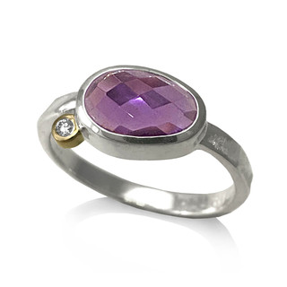Pebble Ring | Amethyst and Diamond, Gold and Silver | Modern Gemstone Ring  by Keiko Mita