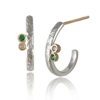 Lyla Hoops   Gold and Silver, Green Garnet and Diamond    Handmade Modern Jewelry by K.MITA