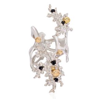 Aneta Zae's Black Diamond Coral Reef Ring   Silver and 18 Karat Yellow Gold Granulation   Adjustable