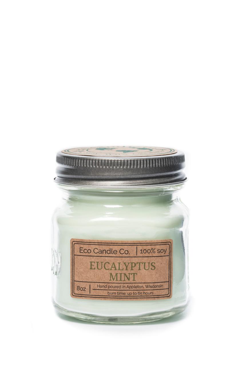 8oz Mason Eucalyptus Mint Soy Candle Eco Candle Co