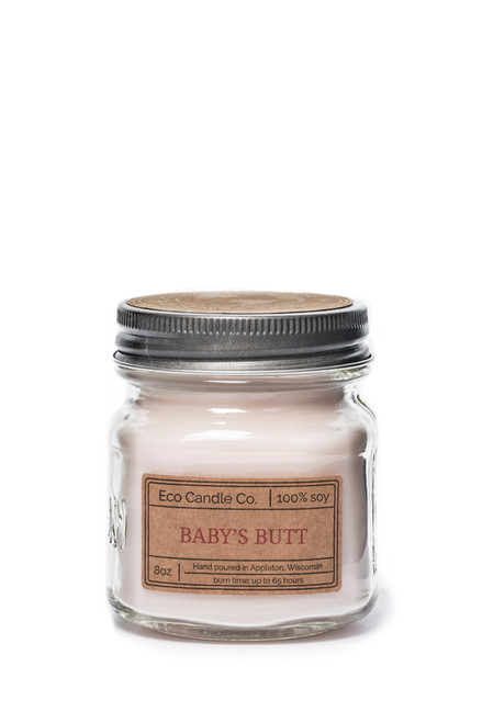 8oz soy eco candle in retro mason jar BABY'S BUTT