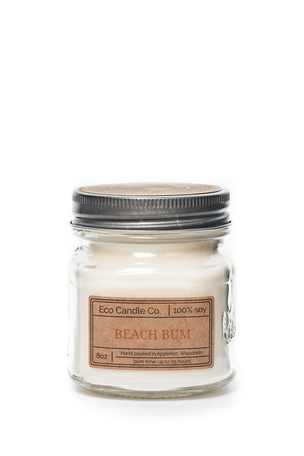 8oz soy eco candle in retro mason jar BEACH BUM
