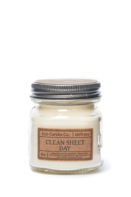 8oz soy eco candle in retro mason jar CLEAN SHEET DAY