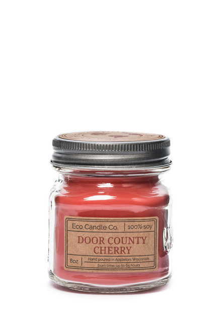 8oz soy eco candle in retro mason jar DOOR COUNTY CHERRY