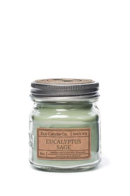 8oz soy eco candle in retro mason jar EUCALYPTUS SAGE