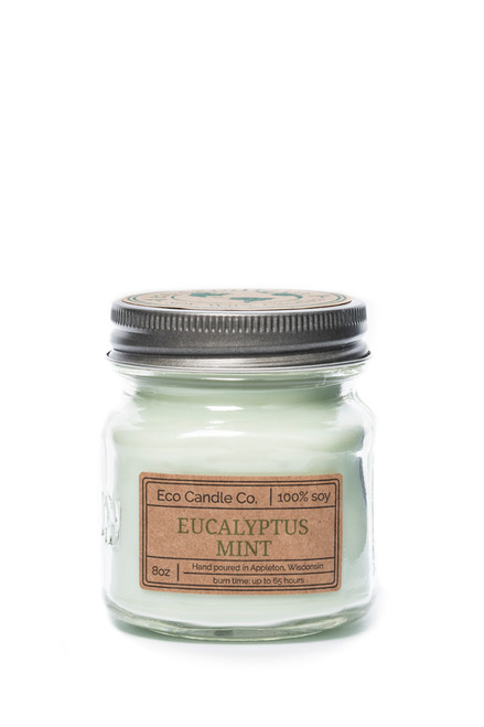 8oz soy eco candle in retro mason jar EUCALYPTUS MINT