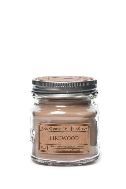 8oz soy eco candle in retro mason jar FIREWOOD