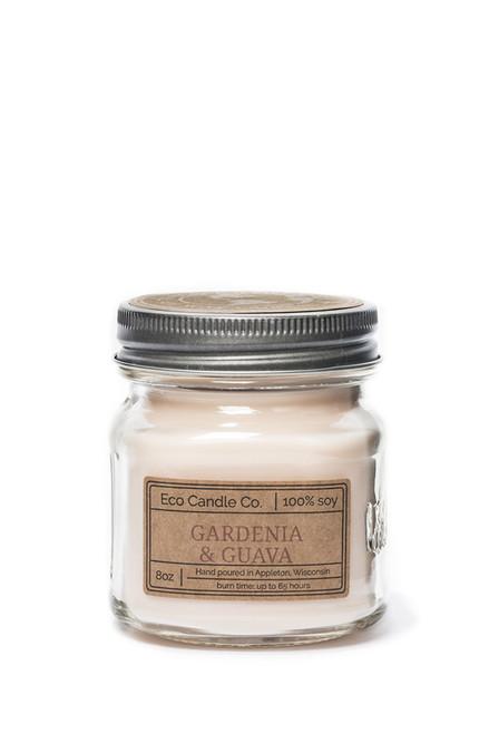 8oz soy eco candle in retro mason jar gardenia & guava
