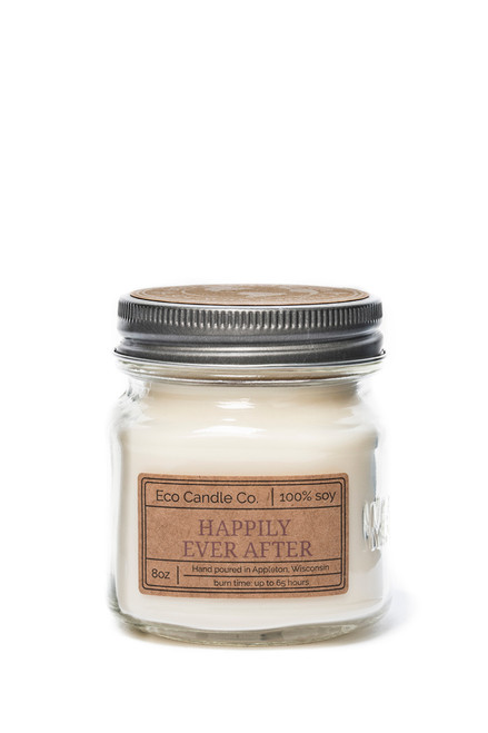 8oz soy eco candle in retro mason jar HAPPILY EVER AFTER
