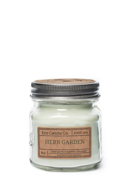 8oz soy eco candle in retro mason jar HERB GARDEN