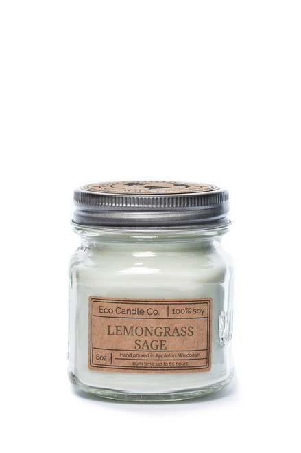 8oz soy eco candle in retro mason jar LEMONGRASS SAGE